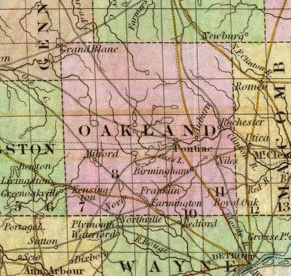 1839 Tanner Map of Michigan  Detail of Highland Area