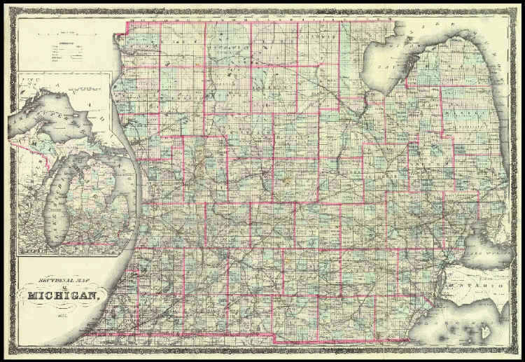 1873 chapman silas map of michigan full size publicscrutiny Image collections