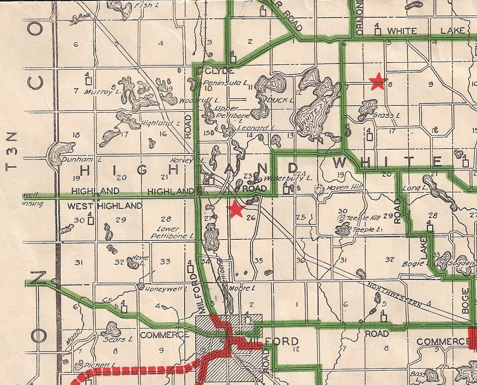 1928 29 Oakland County Road Map